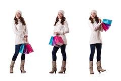 做圣诞节购物的冬天衣物的妇女 图库摄影