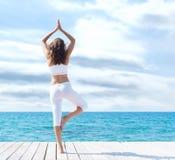 做在一个木码头的白色运动的衣裳的可爱的妇女瑜伽 瑜伽、体育、休闲、休闲和自由 库存照片