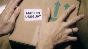 做在乌拉圭贴纸在纸盒 库存照片