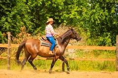 做在乡下草甸的女牛仔马骑术 库存照片