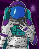 做在传染媒介EPS 10的宇航员一selfie 免版税库存图片