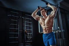 做在健身房的坚强的肌肉爱好健美者锻炼 一部分的健身身体 库存图片