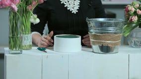 做在圆的形式白色箱子的妇女花的布置 股票视频