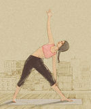 做在城市屋顶的瑜伽妇女姿势 库存例证