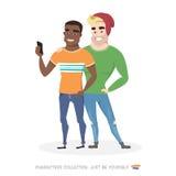 做在智能手机的两个朋友selfie 图库摄影