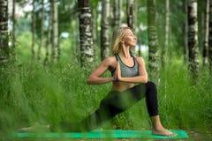 做在桦树树树丛射击的女孩瑜伽 免版税库存图片