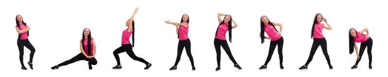 做在白色的妇女锻炼 库存照片