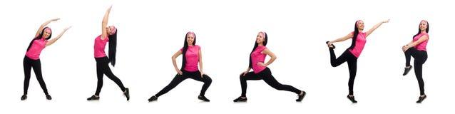 做在白色的妇女锻炼 图库摄影