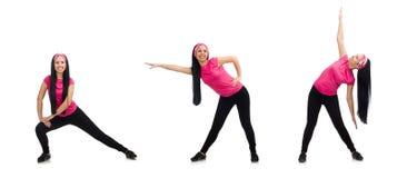 做在白色的妇女锻炼 免版税图库摄影