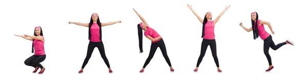 做在白色的妇女锻炼 免版税库存照片