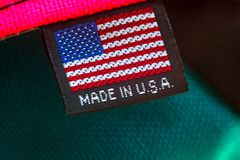 做在美国纺织品标记 免版税图库摄影