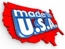 做在美国美国生产制造业物品产品 库存图片