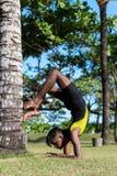 做在自然的年轻瑜伽人实习者瑜伽 草的亚裔印地安信奉瑜伽者人在公园 巴厘岛 免版税库存图片