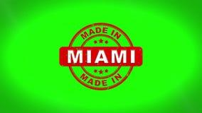 做在迈阿密签署了盖印文本木邮票动画 库存例证