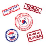 做在韩国邮票设置与韩国旗子被隔绝的模板的难看的东西贴纸在白色背景 向量例证