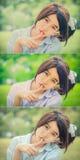 做在绿色bokeh的逗人喜爱的泰国女小学生静寂姿态 库存图片