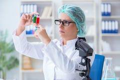 做在labora的女性科学家研究员一次试验 库存图片