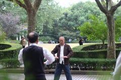做太极拳的人在复兴公园 免版税库存照片