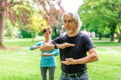 做太极拳的资深夫妇在公园, Tuebingen,德国 库存图片