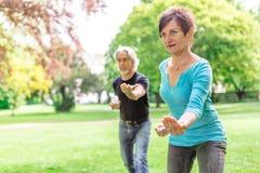 做太极拳的资深夫妇在公园, Tuebingen,德国 免版税库存图片