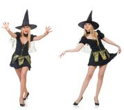 做她的妇女魔术师与鞭子的把戏 免版税库存照片