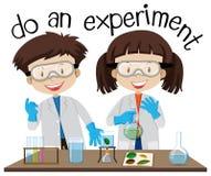 做实验的两个孩子在科学实验室 库存例证