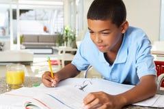 做家庭作业的男孩在厨房里 免版税库存图片