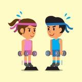 做常设哑铃小牛的动画片男人和妇女提高锻炼 库存照片