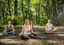 做平衡的女性在自然和谐中行使  免版税图库摄影