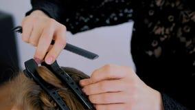 做年轻俏丽的妇女的专业美发师发型 图库摄影