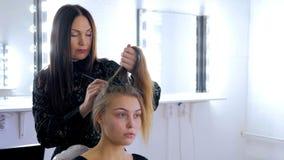 做年轻俏丽的妇女的专业美发师发型 免版税库存照片