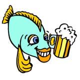 做广告的一个快乐的字符 一条愉快的滑稽的鱼 库存图片