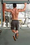 做引体向上最佳的背部锻炼的爱好健美者 库存照片