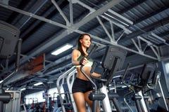 做心脏锻炼的年轻健身妇女在跑在踏车的健身房 库存图片