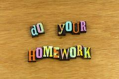 做您家庭作业学会 库存照片