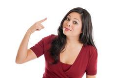 做手势的西班牙妇女查出在白色 库存照片