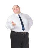 做打手势的肥胖生意人 免版税库存图片
