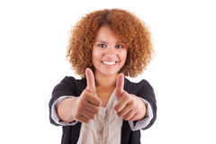 做拇指的一个年轻非裔美国人的女商人的画象 库存照片