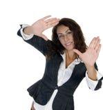 做掌上型计算机姿势妇女 免版税库存图片