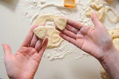做曲奇饼的女性手由新鲜的面团 库存照片
