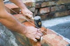 做有灰浆和砖的泥工墙壁,使用锤子工具 修筑外墙的产业工人,使用放置的增殖比锤子 免版税库存图片