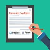 做标志的手-期限和条件 库存例证