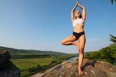 做树姿势的美丽的瑜伽妇女 凝思和平衡在美妙的自然山风景行使 库存照片