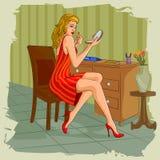做梳妆台的构成infront减速火箭的妇女 向量例证
