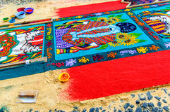 做棕枝全日地毯,安提瓜岛,危地马拉 库存图片