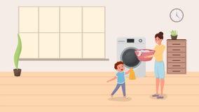 做洗衣店例证的妈妈和儿子 愉快的做国内差事,家务的儿童帮助的母亲 有孩子的父母 皇族释放例证
