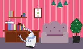 做清洁和打扫灰尘的国内机器人在屋子里 免版税库存图片
