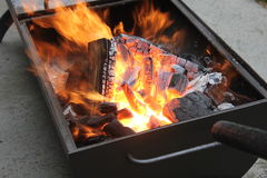做火和格栅烤肉的 图库摄影