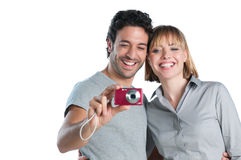 做照片的夫妇 免版税库存照片