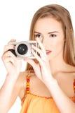 做照片的妇女在度假 库存照片